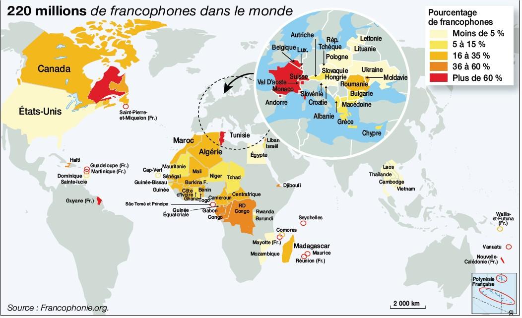La Francophonie : 220 millions de locuteurs sur 5 continents